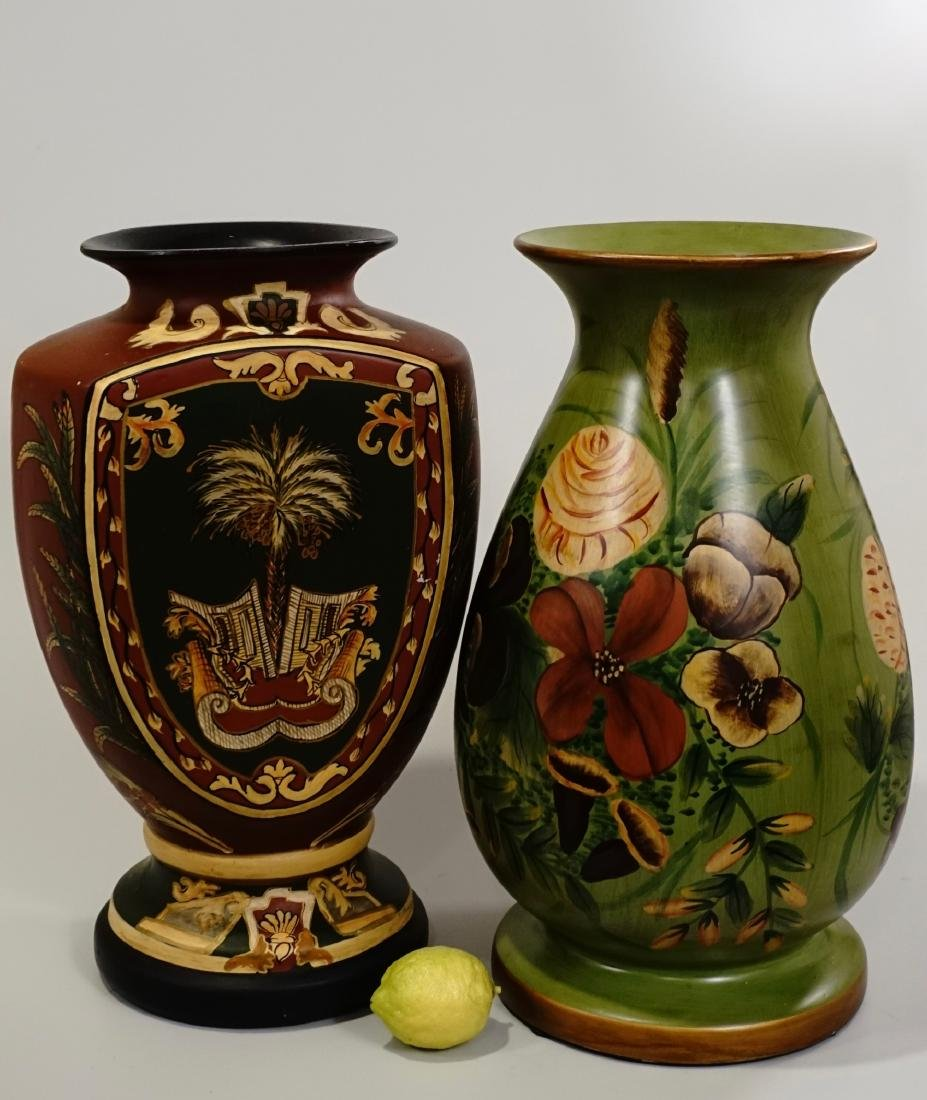 2 Large Ceramic Vases Hand Painted Modern Decorations