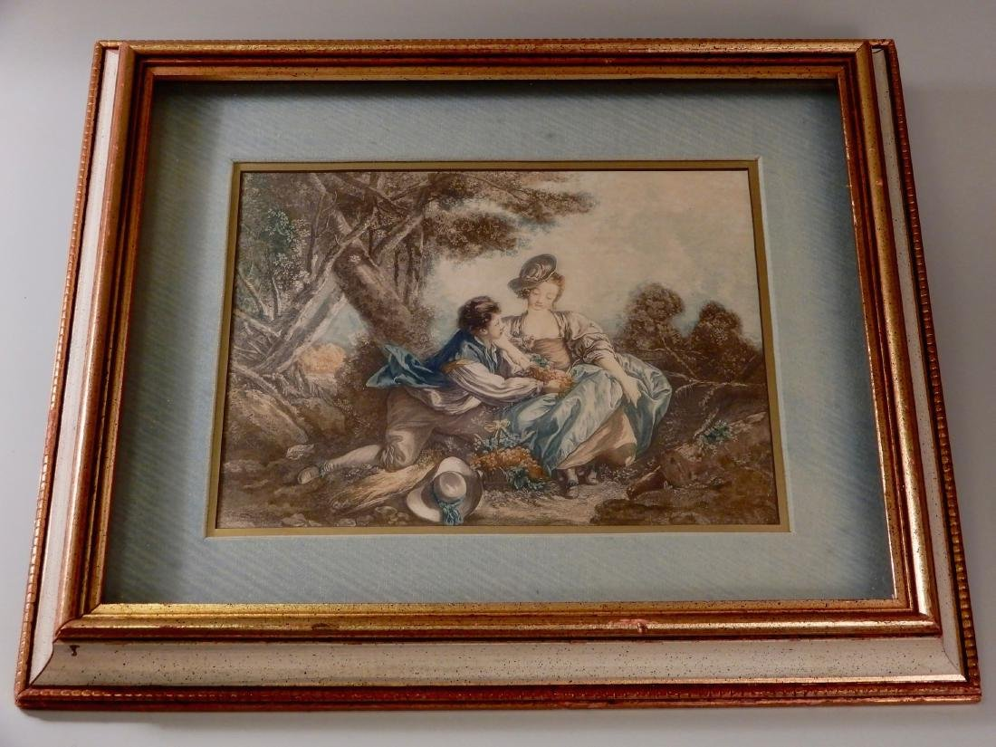 Antique Colored French Rococo Engraving Shadow Box