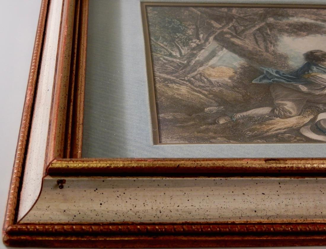 Antique Colored French Rococo Engraving Shadow Box - 5