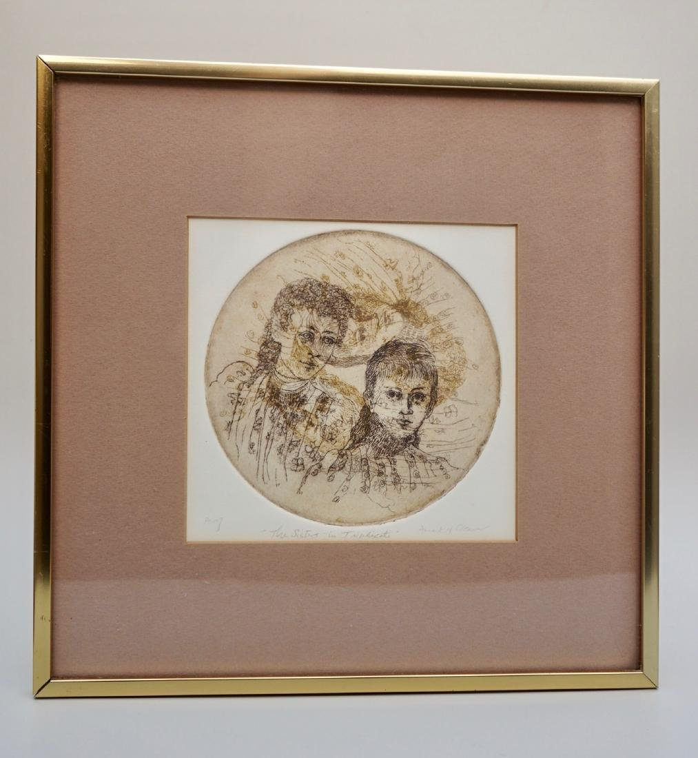 Vintage Framed Etching Engraving The Sisters In - 2