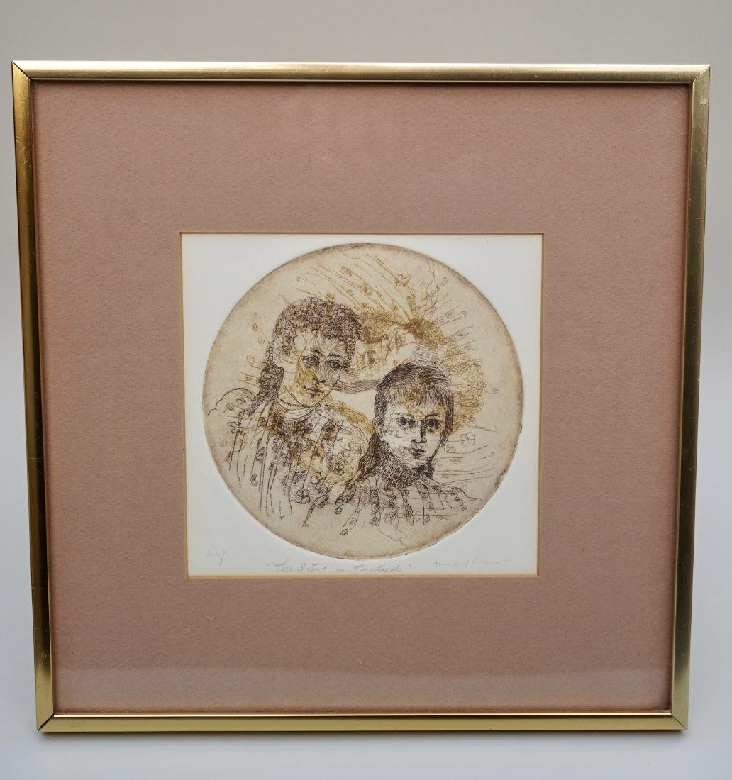 Vintage Framed Etching Engraving The Sisters In - 3