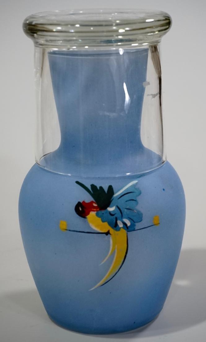 Blue Glass Parrot c1940 Art Deco Tumble Up Decanter