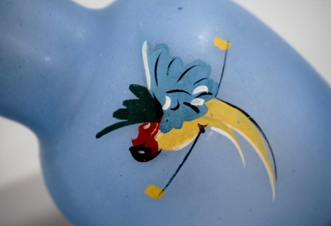 Blue Glass Parrot c1940 Art Deco Tumble Up Decanter - 3