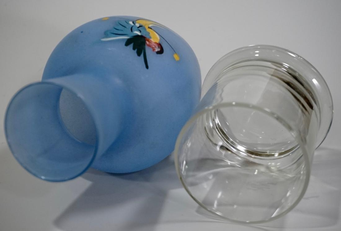 Blue Glass Parrot c1940 Art Deco Tumble Up Decanter - 4