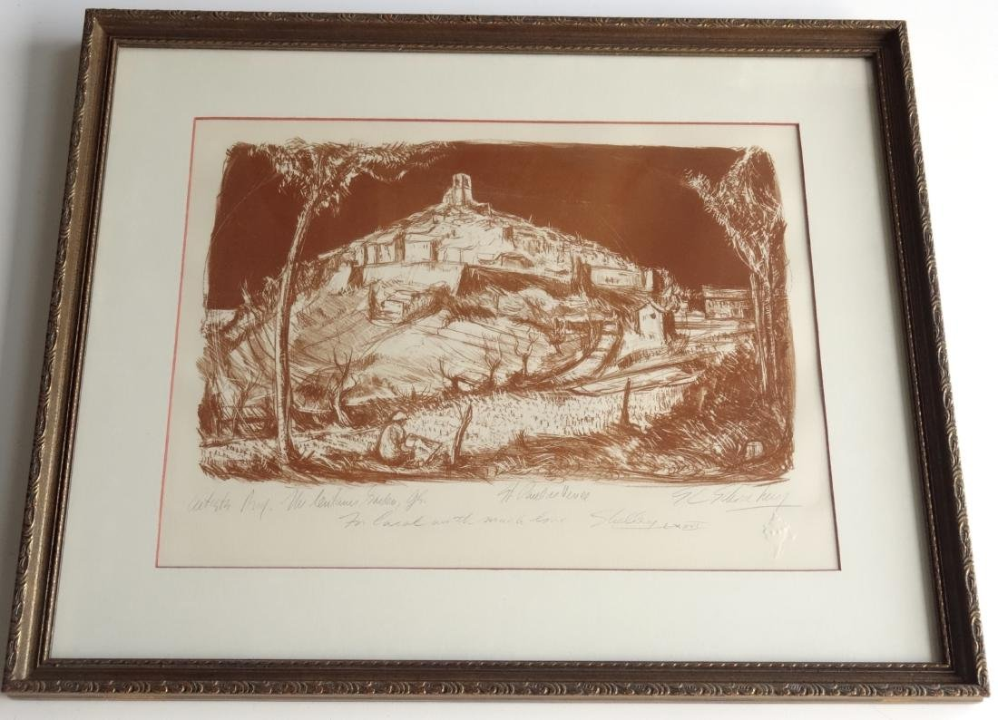 Vintage Limited Sepia Etching Signed Shelly Print Gold