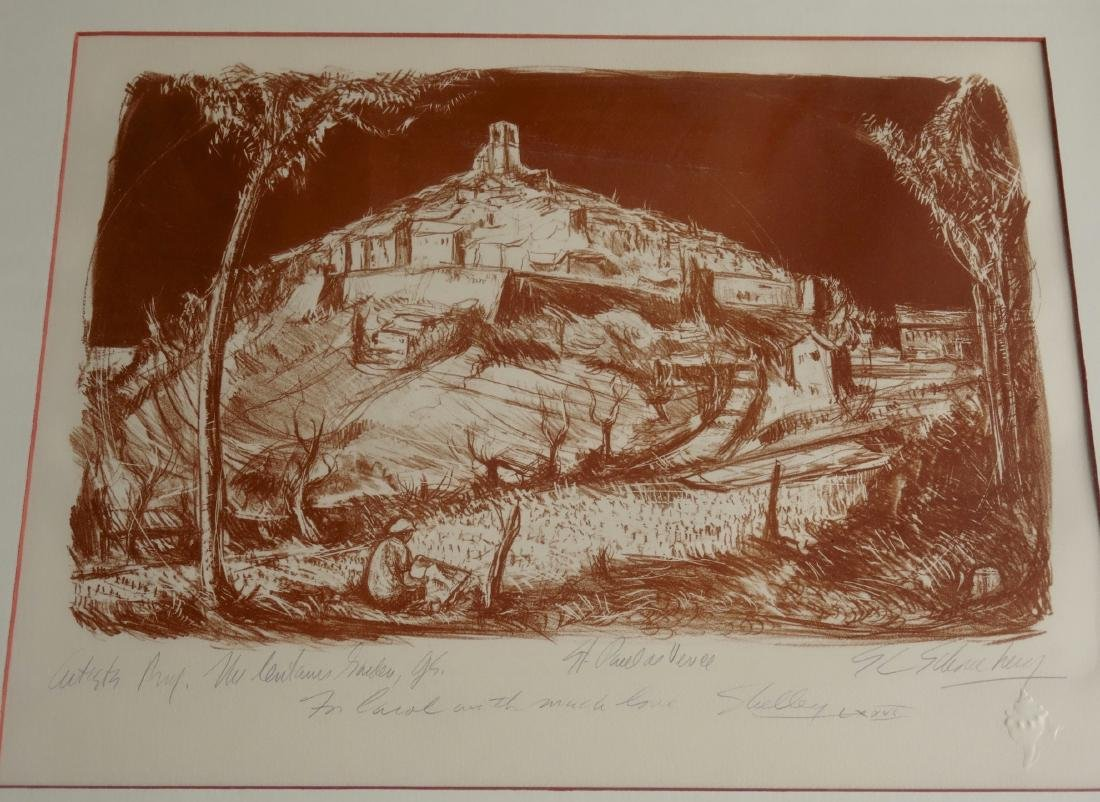 Vintage Limited Sepia Etching Signed Shelly Print Gold - 2