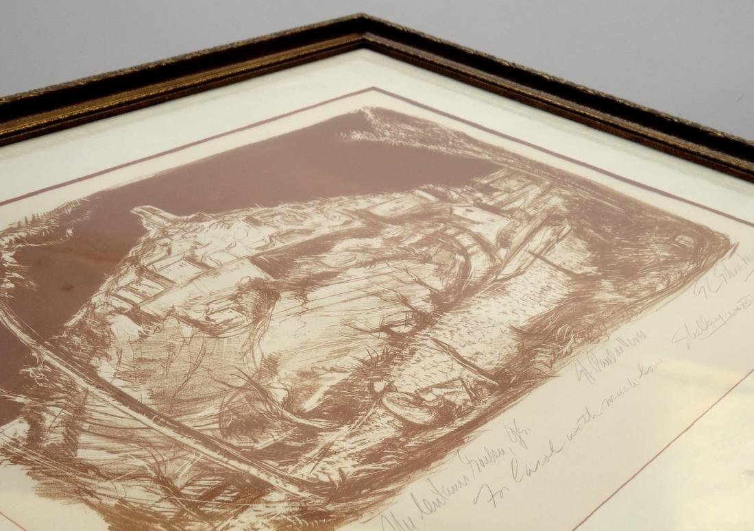 Vintage Limited Sepia Etching Signed Shelly Print Gold - 6