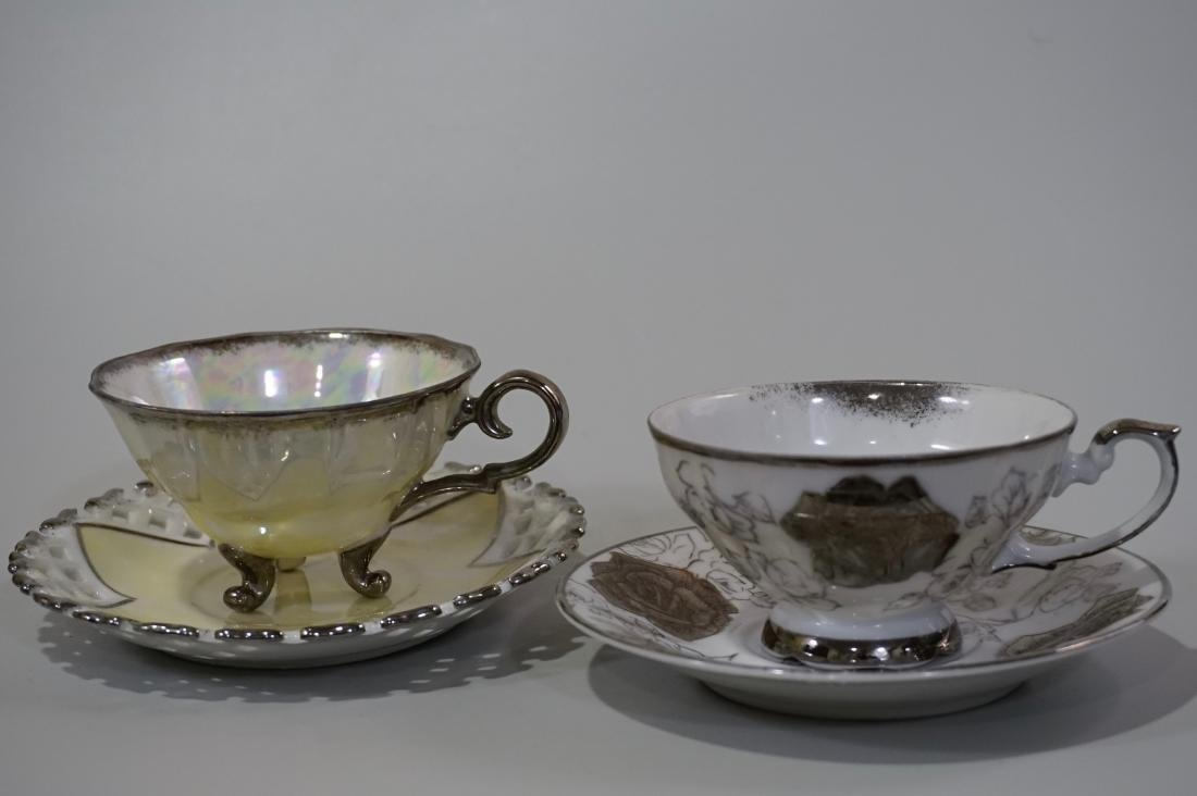 Silver Overlay Porcelain Marco Teacup & Iridescent