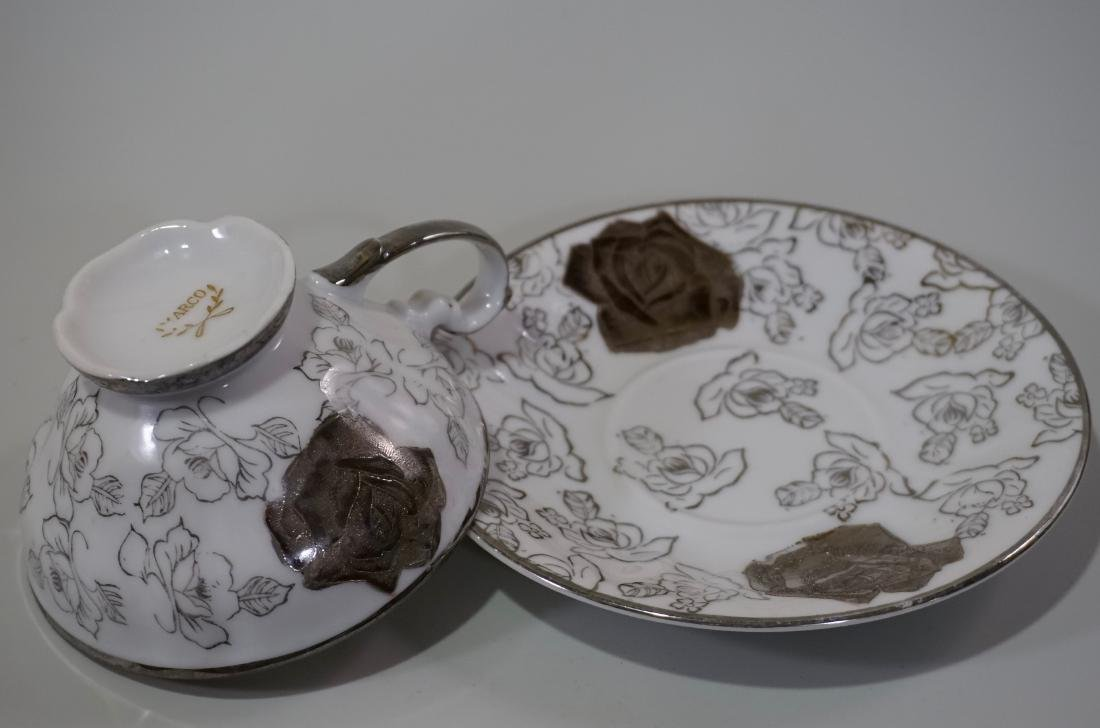 Silver Overlay Porcelain Marco Teacup & Iridescent - 5