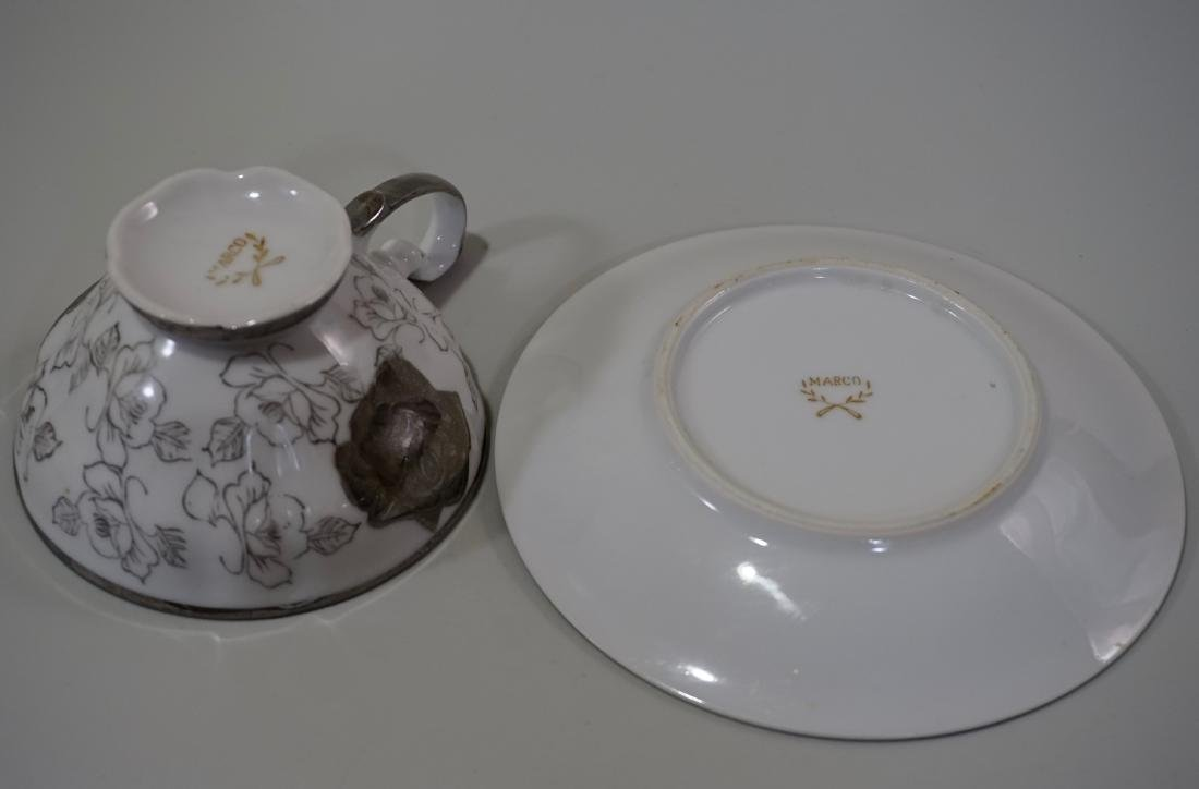 Silver Overlay Porcelain Marco Teacup & Iridescent - 6
