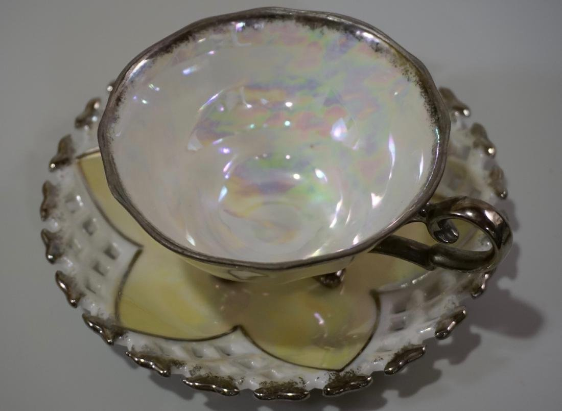 Silver Overlay Porcelain Marco Teacup & Iridescent - 8