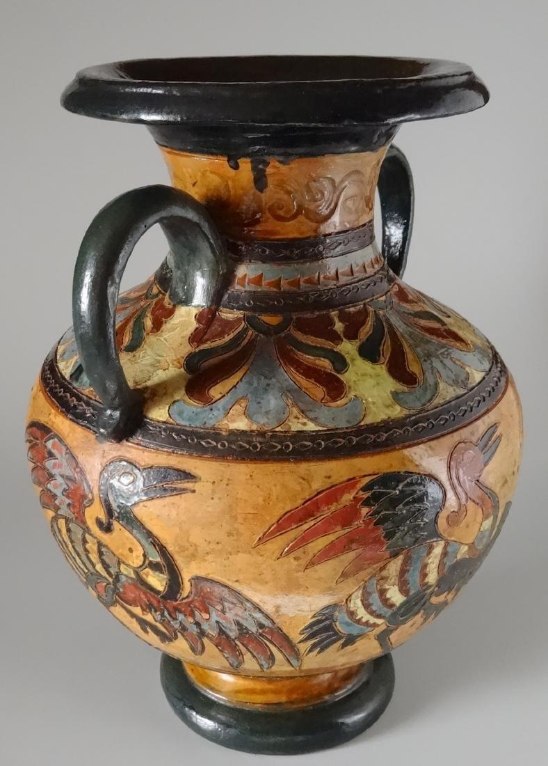 Fine Antique Italian Art Pottery Bird Crane Vase Artist - 2