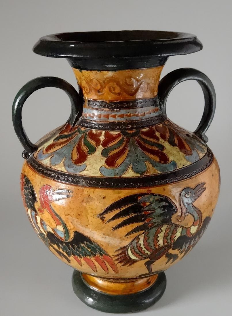 Fine Antique Italian Art Pottery Bird Crane Vase Artist - 4