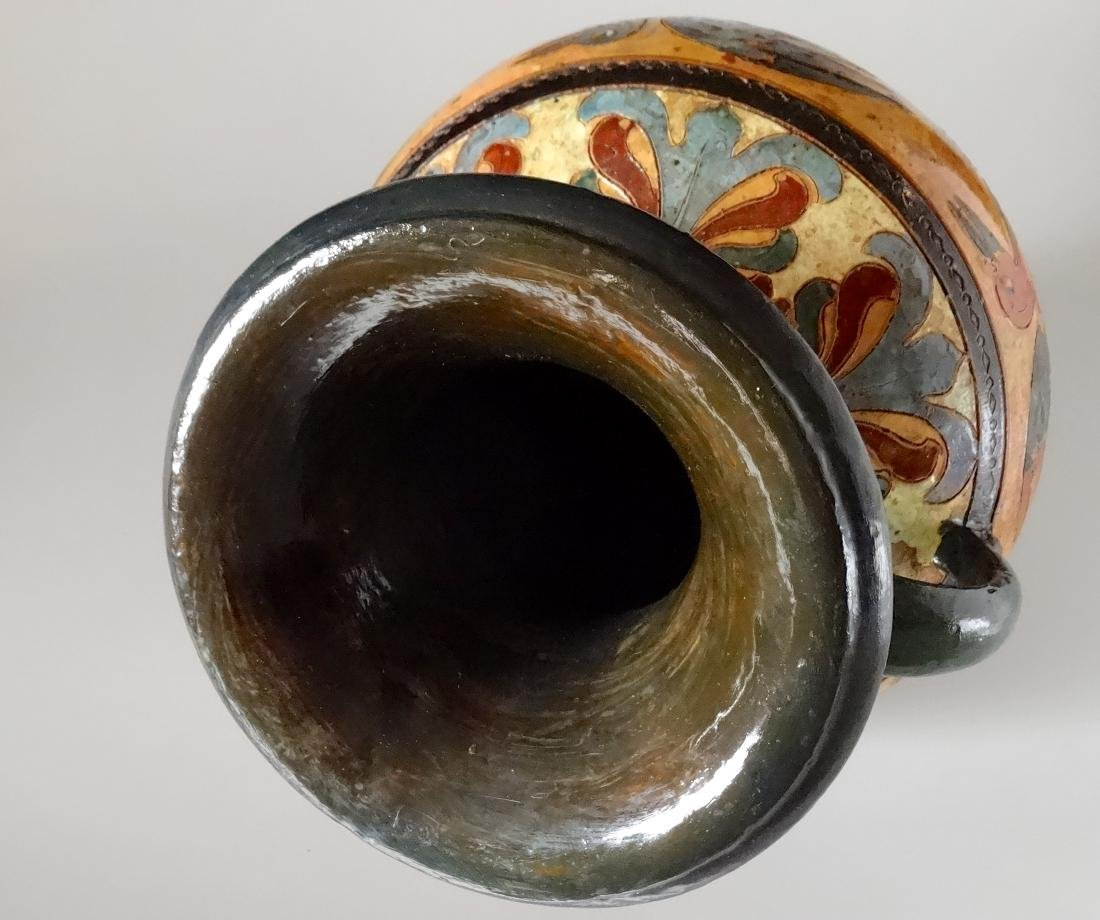 Fine Antique Italian Art Pottery Bird Crane Vase Artist - 5