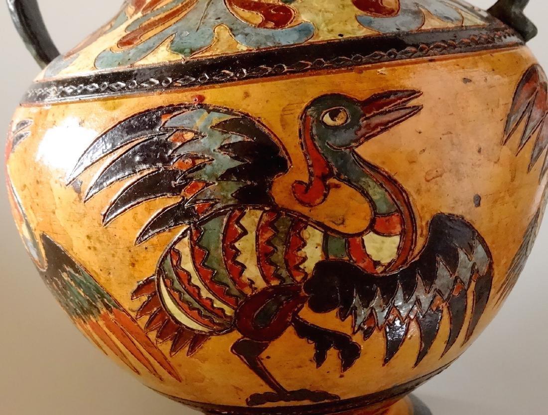 Fine Antique Italian Art Pottery Bird Crane Vase Artist - 7