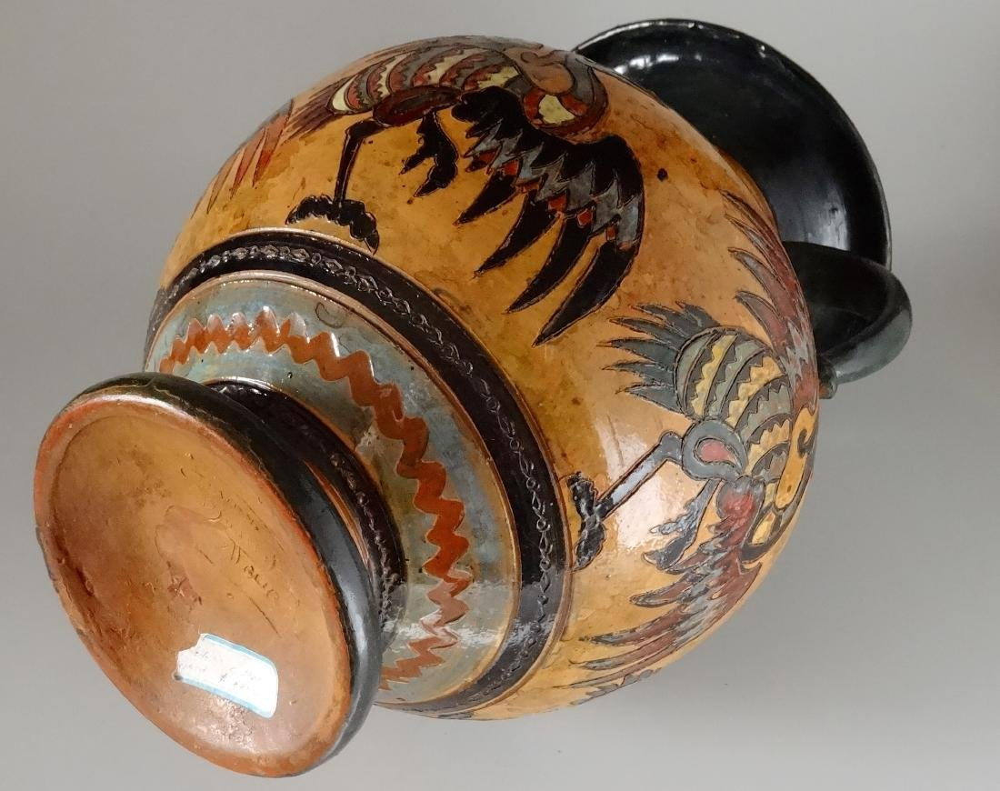 Fine Antique Italian Art Pottery Bird Crane Vase Artist - 8