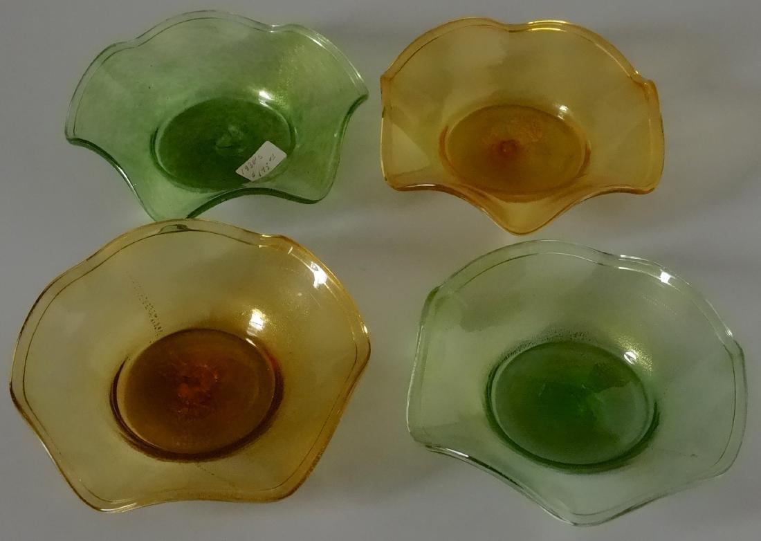 Vintage 30s Murano Art Glass Gold Speckled Bowls Pontil