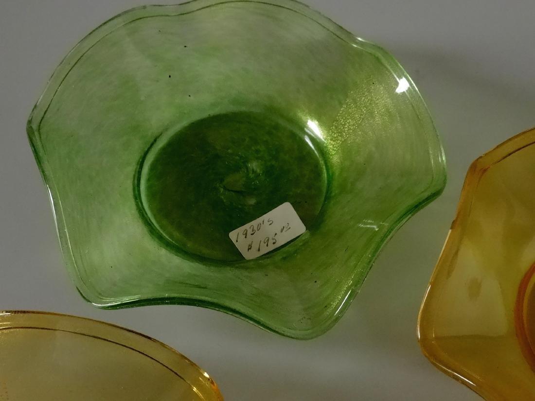 Vintage 30s Murano Art Glass Gold Speckled Bowls Pontil - 2