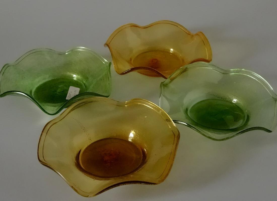 Vintage 30s Murano Art Glass Gold Speckled Bowls Pontil - 6