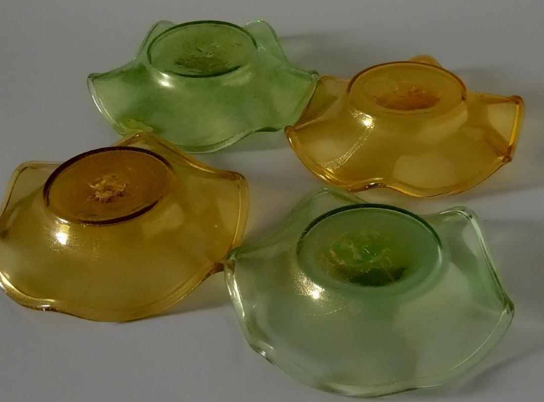 Vintage 30s Murano Art Glass Gold Speckled Bowls Pontil - 7