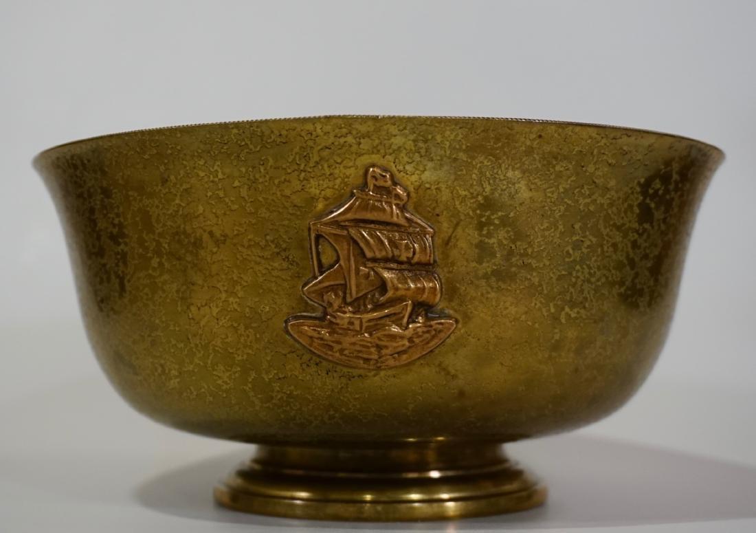 Antique Tiffany Bowl Furnaces Favrile Bronze Ship