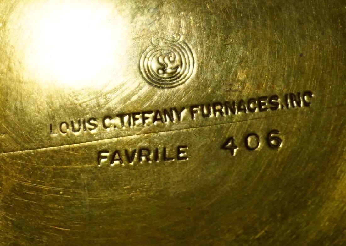 Antique Tiffany Bowl Furnaces Favrile Bronze Ship - 8
