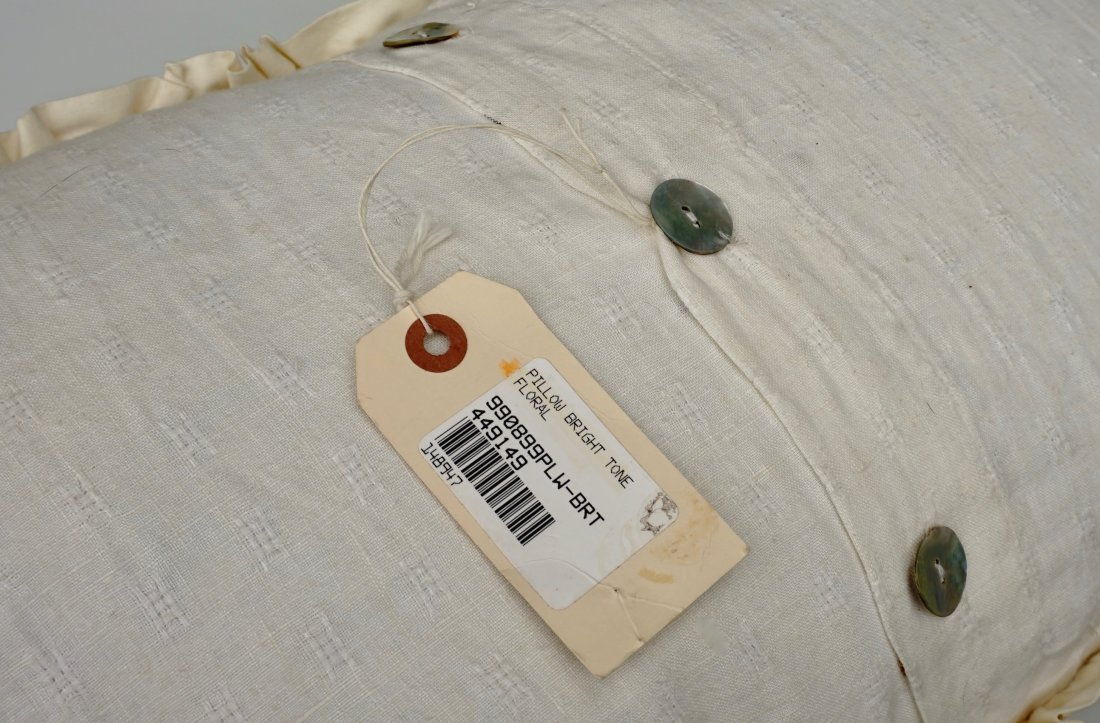 Designer Satin Rose Pillow Mother of Pearl Buttons - 4
