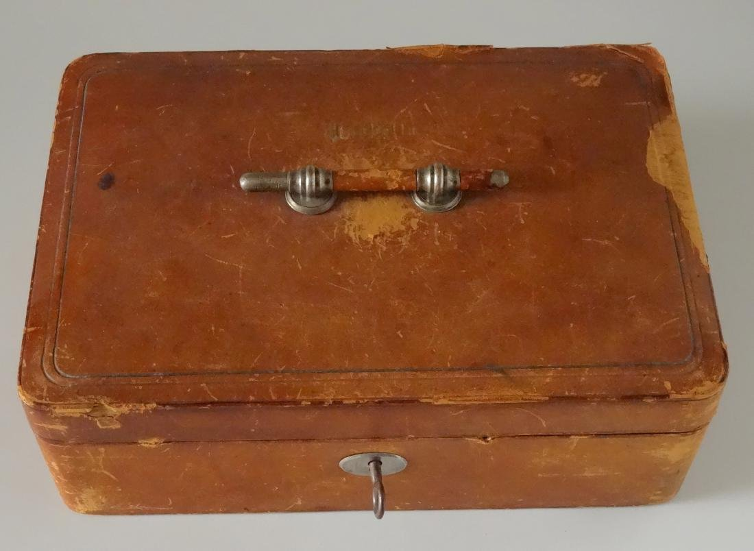 Antique Leather Jewelry Box Gold Tooled Isabella Signed - 2
