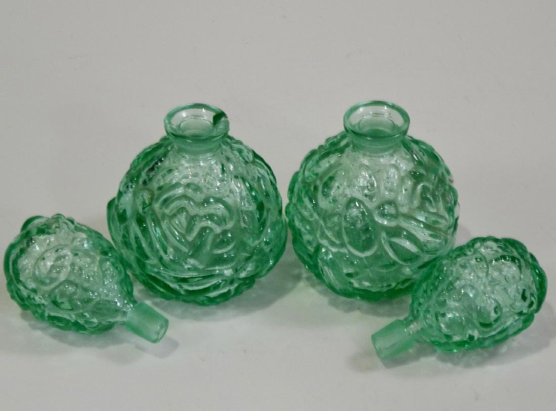Vintage Green Depression Glass Perfume Bottle Grounded - 2