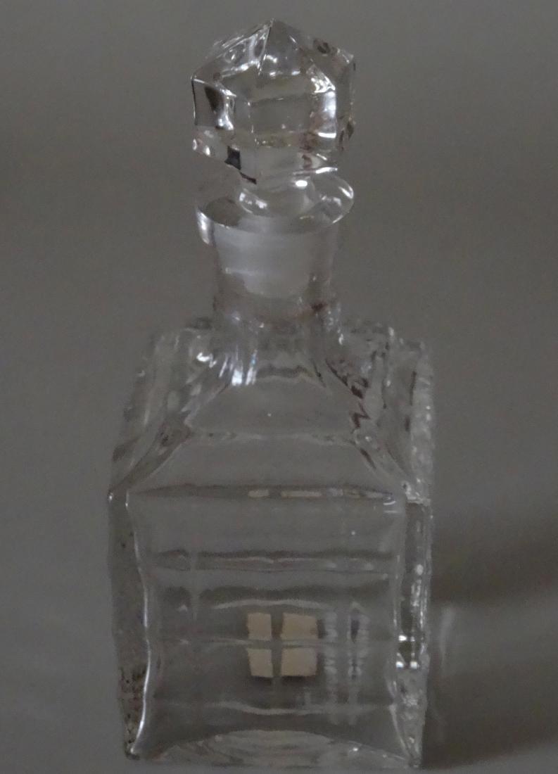 Vintage Optical Glass Barber Perfume Bottle - 3