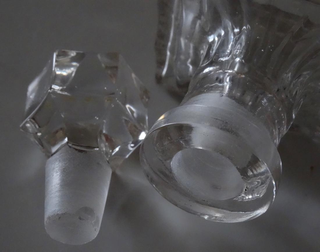 Vintage Optical Glass Barber Perfume Bottle - 5