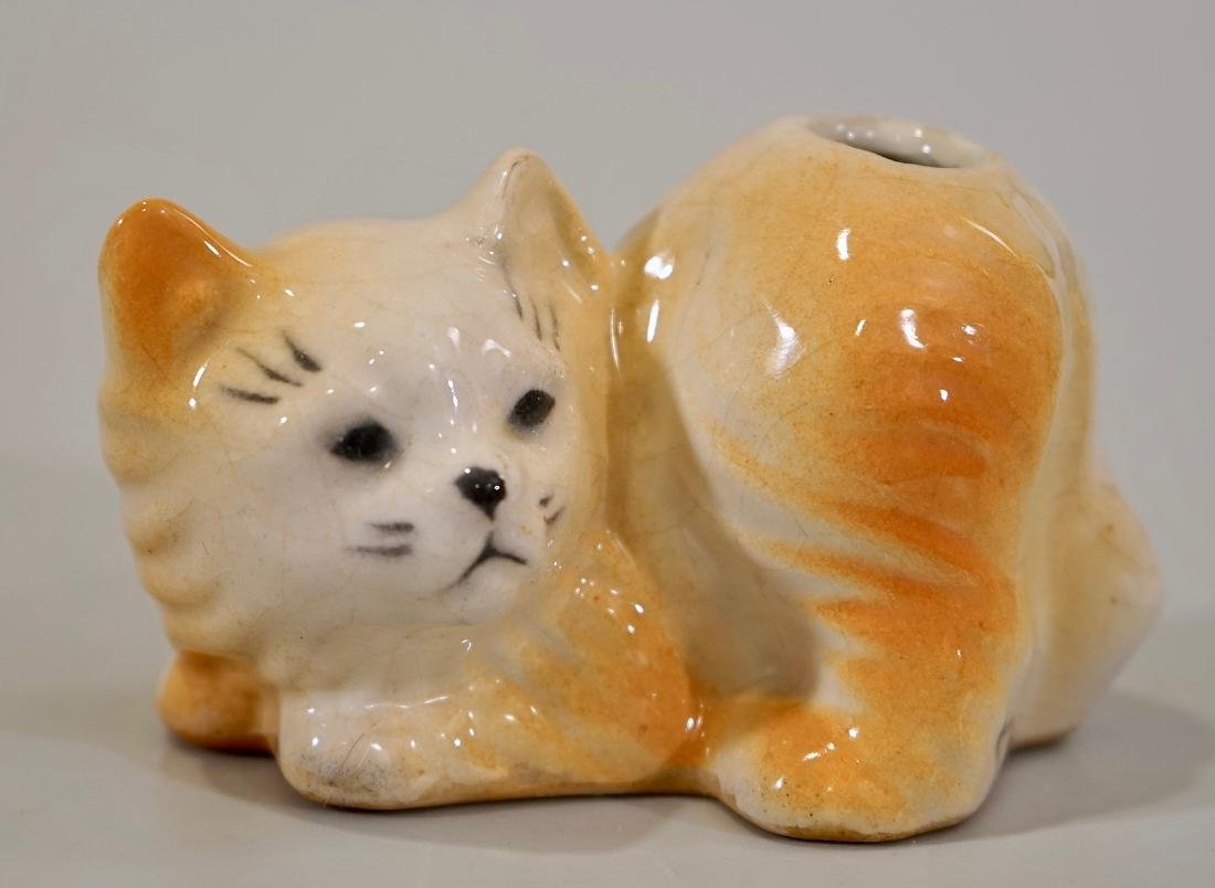 Furry Cat Vintage Ceramic Figural Toothbrush Holder