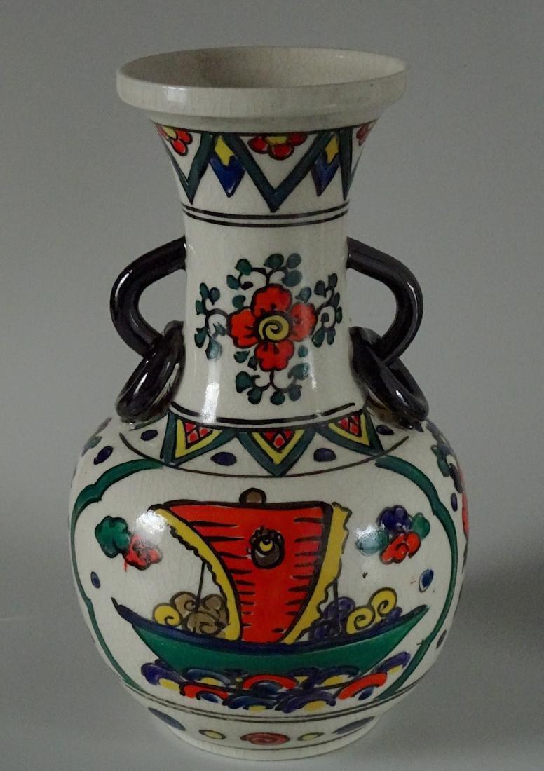 Antique Art & Craft Period Pottery Studio Painted Vase