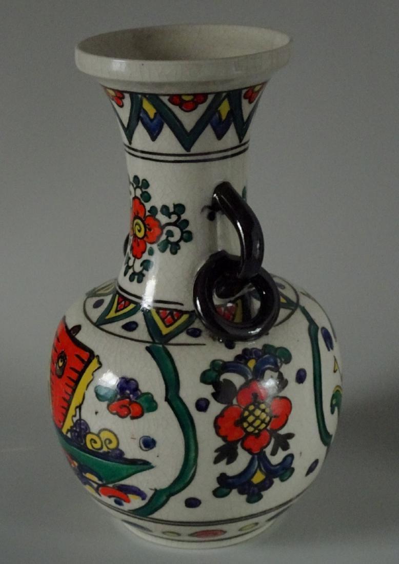 Antique Art & Craft Period Pottery Studio Painted Vase - 2