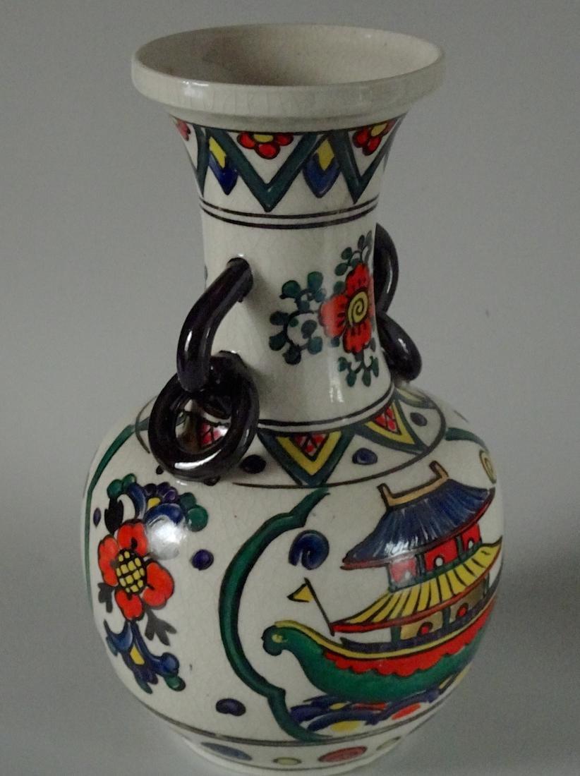 Antique Art & Craft Period Pottery Studio Painted Vase - 3