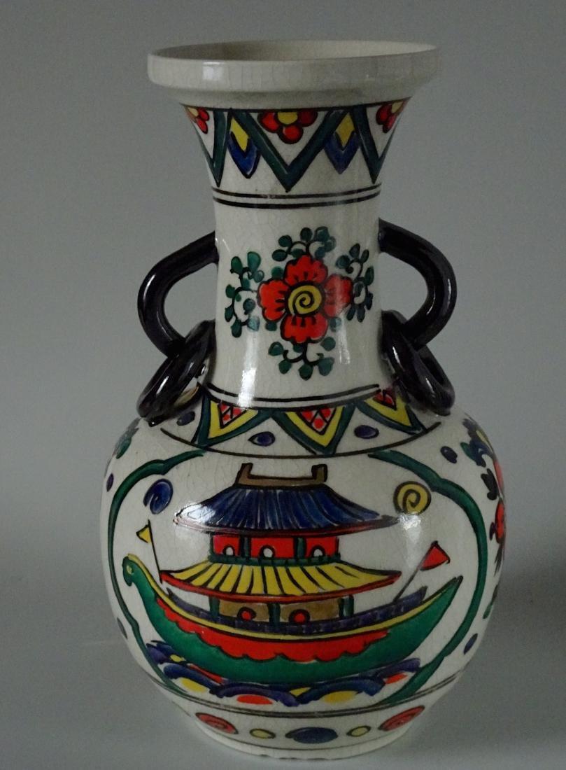 Antique Art & Craft Period Pottery Studio Painted Vase - 4