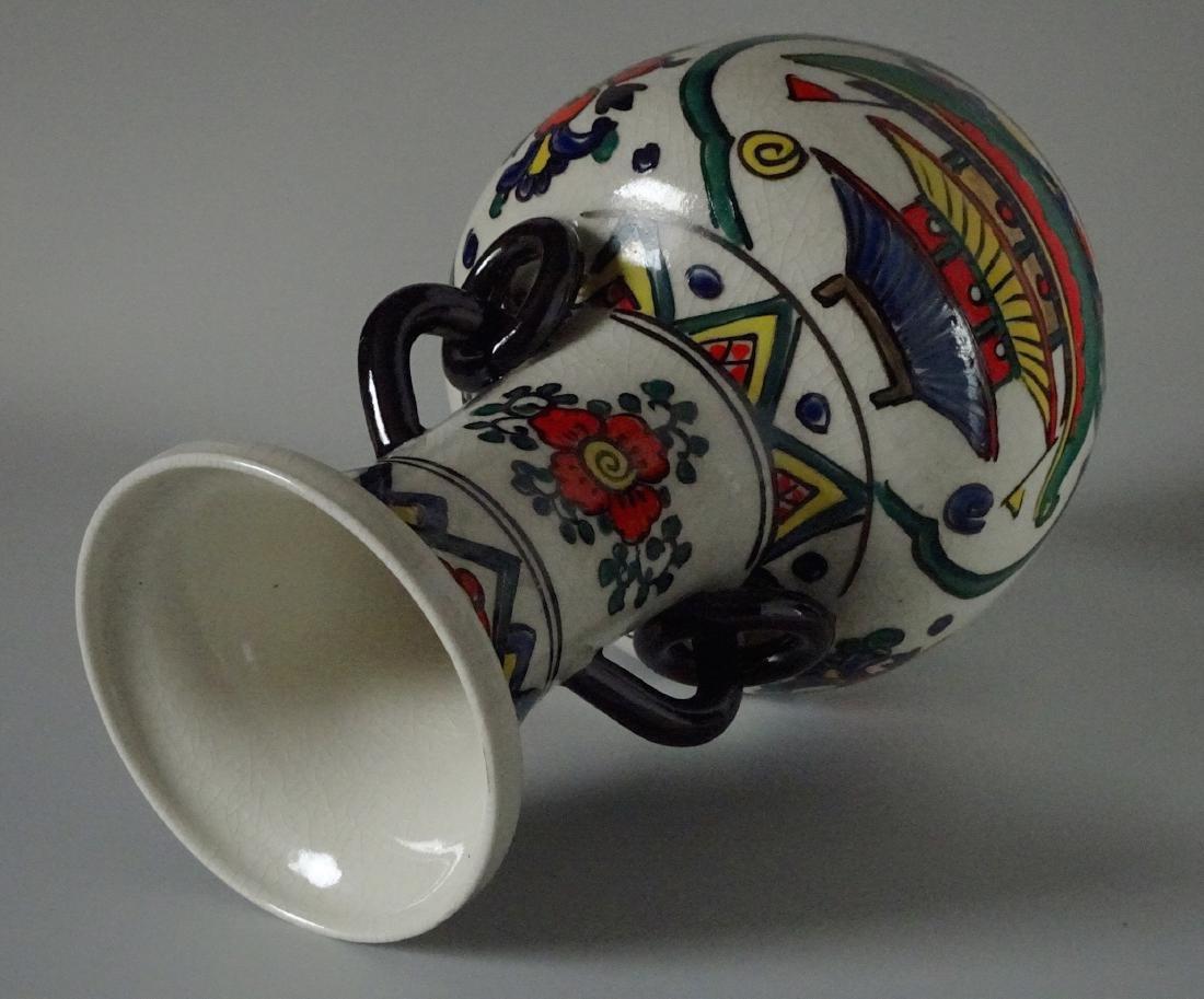 Antique Art & Craft Period Pottery Studio Painted Vase - 5