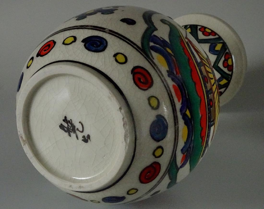 Antique Art & Craft Period Pottery Studio Painted Vase - 6