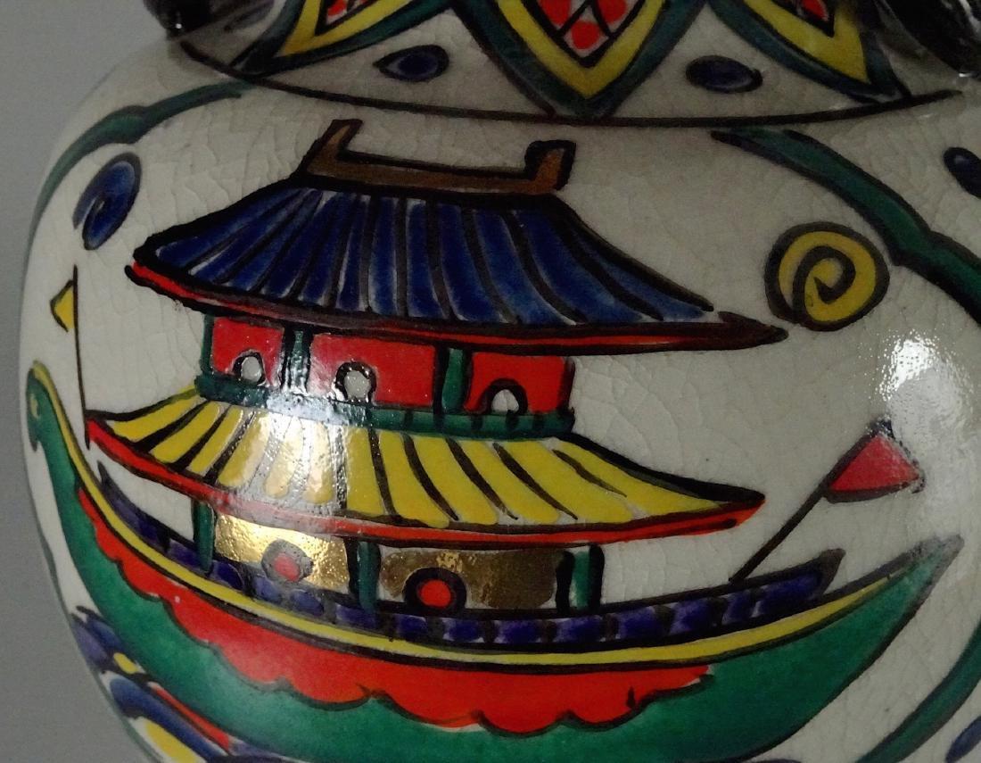 Antique Art & Craft Period Pottery Studio Painted Vase - 8