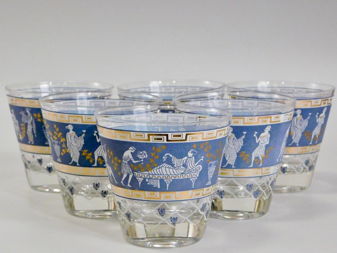 Greek Key Classical Corinthian Motif Glasses Lot of 6