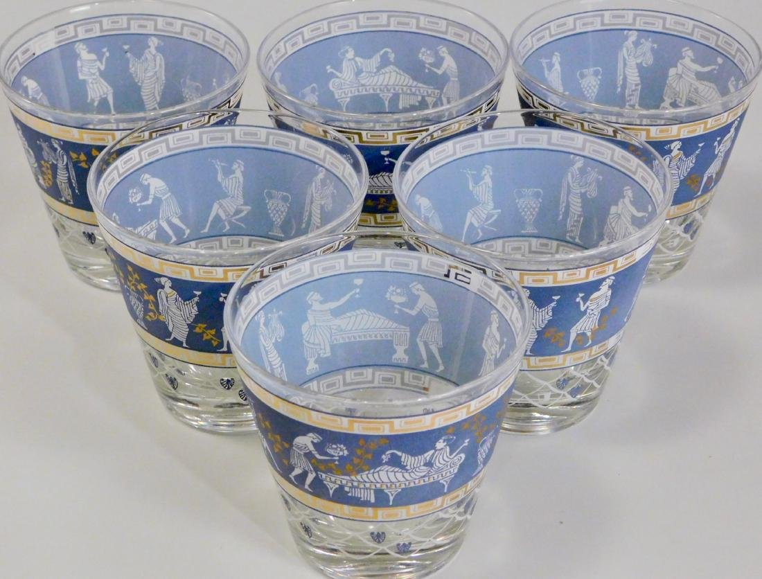 Greek Key Classical Corinthian Motif Glasses Lot of 6 - 2