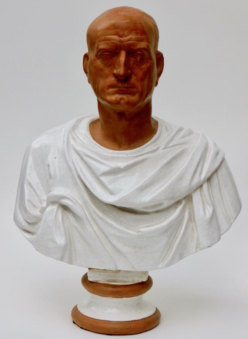 Large Lifesize Roman Style Bust Italian Glazed