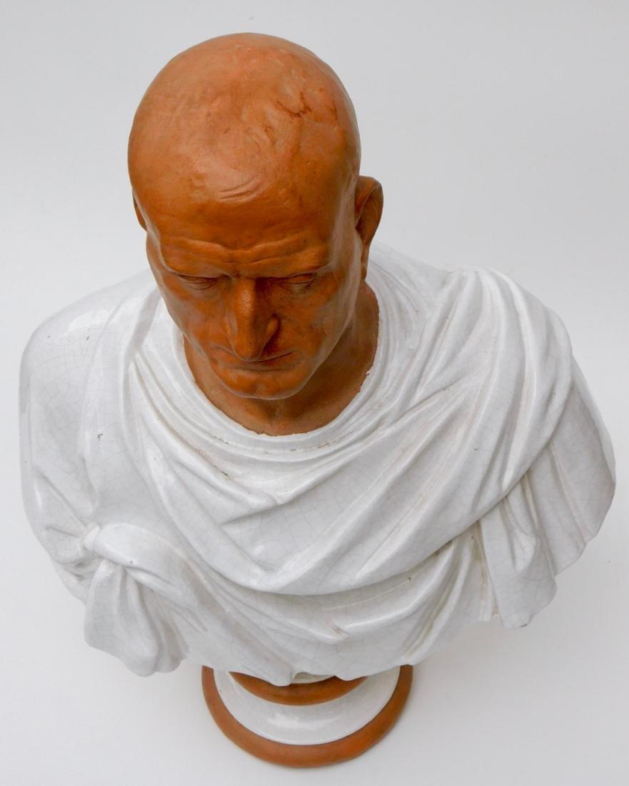 Large Lifesize Roman Style Bust Italian Glazed - 2