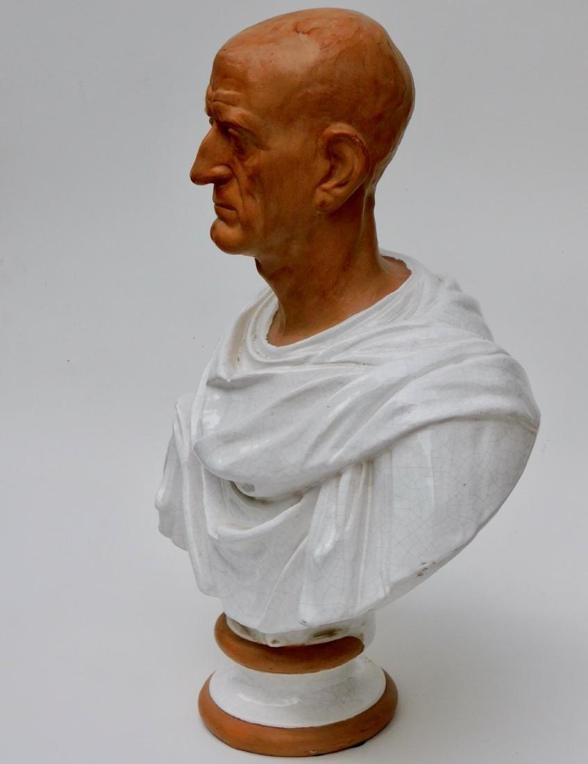 Large Lifesize Roman Style Bust Italian Glazed - 3