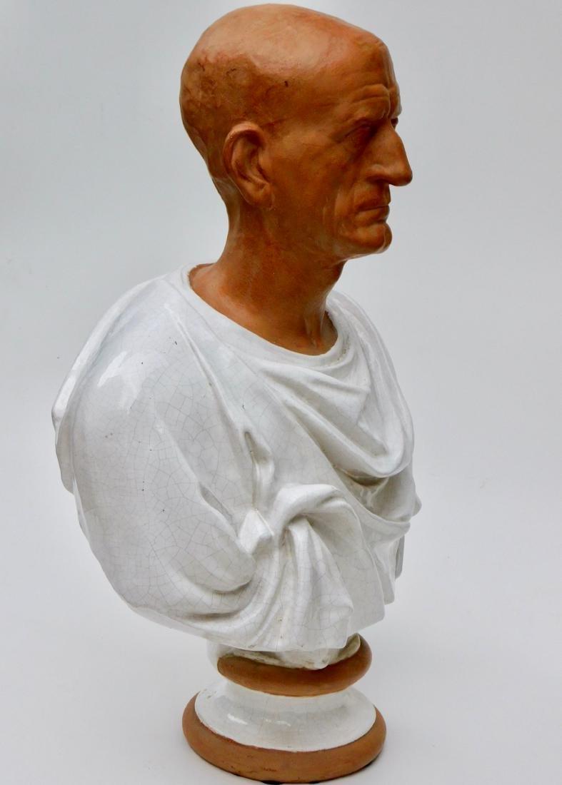 Large Lifesize Roman Style Bust Italian Glazed - 5