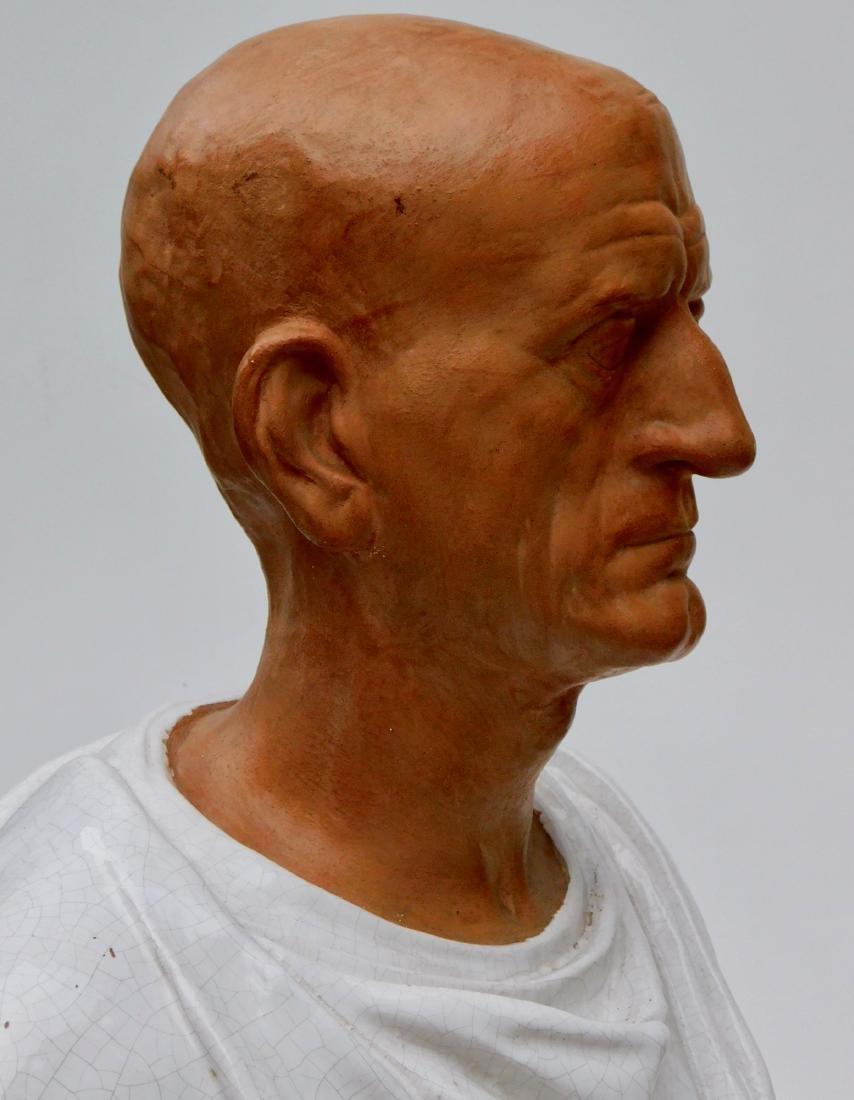 Large Lifesize Roman Style Bust Italian Glazed - 6