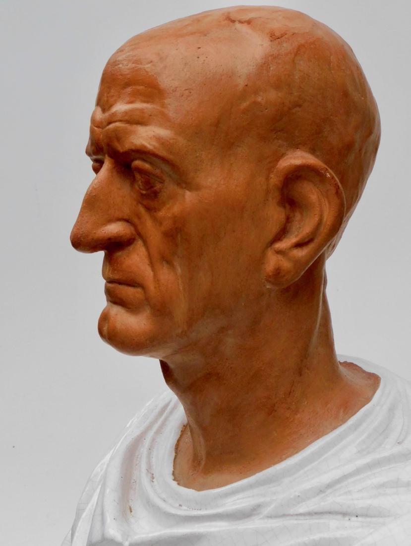 Large Lifesize Roman Style Bust Italian Glazed - 7