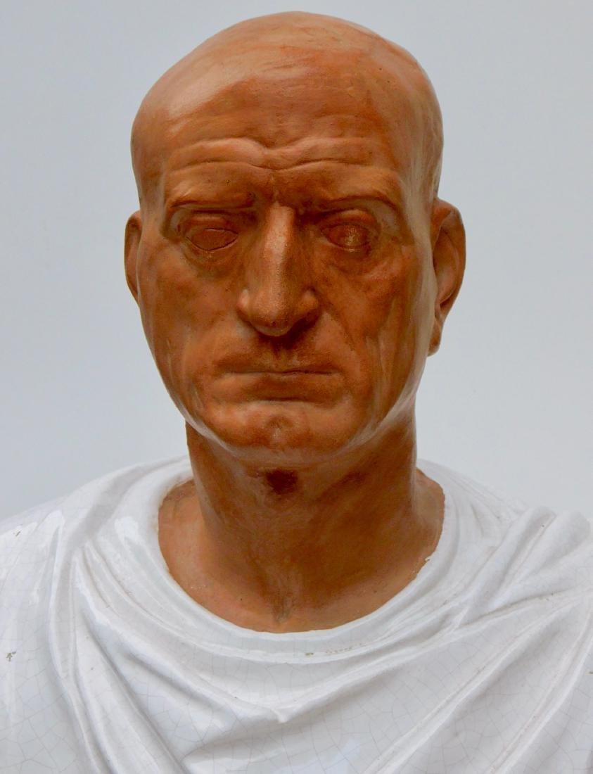 Large Lifesize Roman Style Bust Italian Glazed - 9