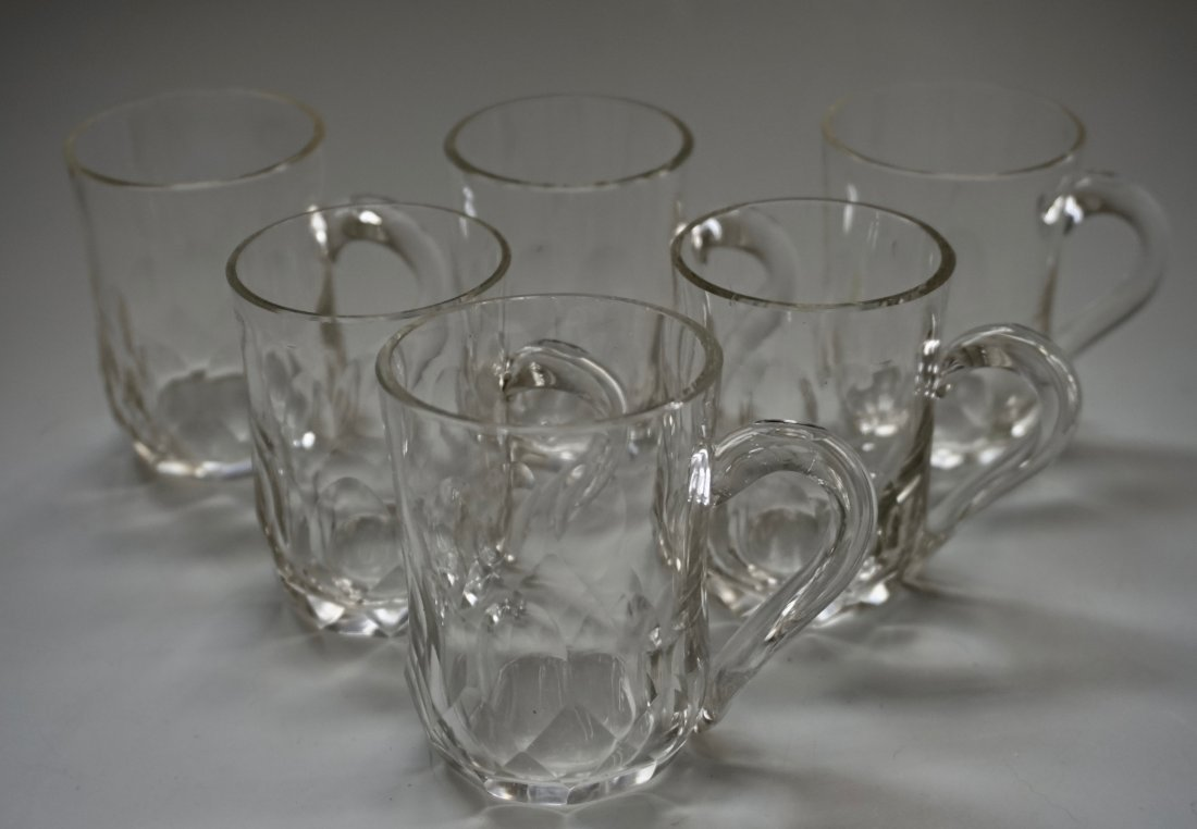 Antique Cut Glass Crystal Mugs Drinking Glasses Lot of