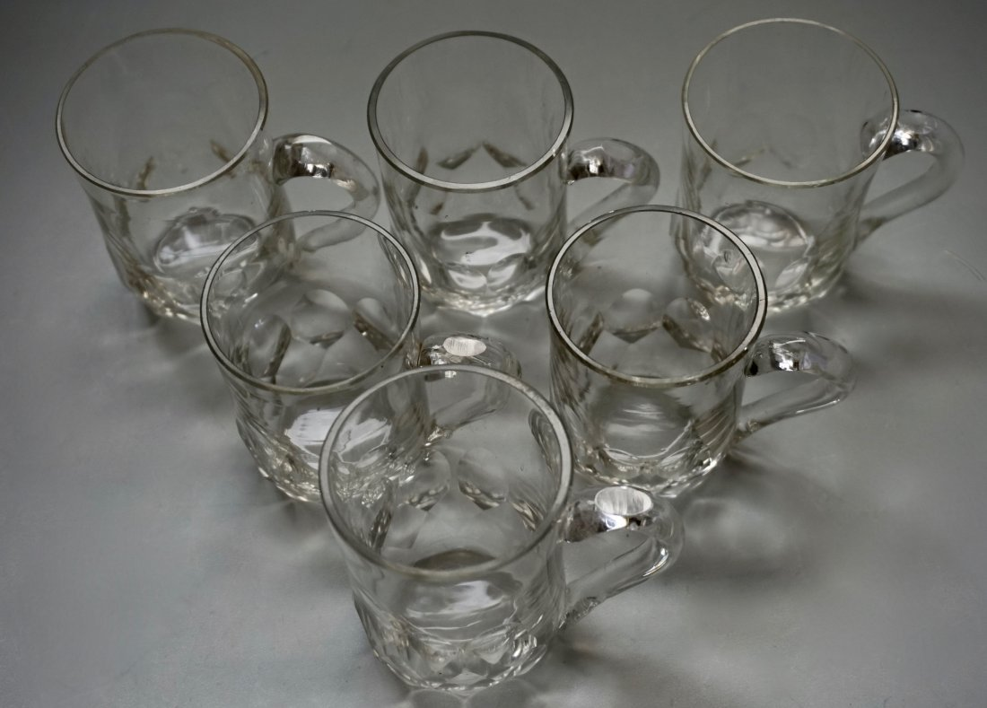 Antique Cut Glass Crystal Mugs Drinking Glasses Lot of - 2